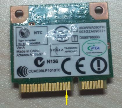 半高 Mini PCI-E 无线网卡第 20 脚